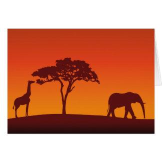 Silueta africana del safari - tarjeta de felicitac