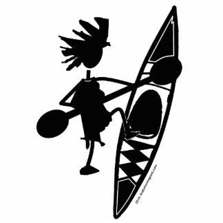Silueta alegre de la canoa del kajak fotoescultura vertical