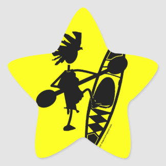Silueta alegre de la canoa del kajak pegatina en forma de estrella
