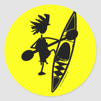 Silueta alegre de la canoa del kajak pegatina redonda