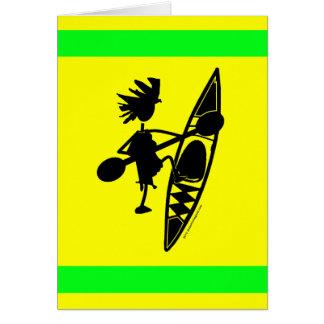 Silueta alegre de la canoa del kajak tarjeta de felicitación
