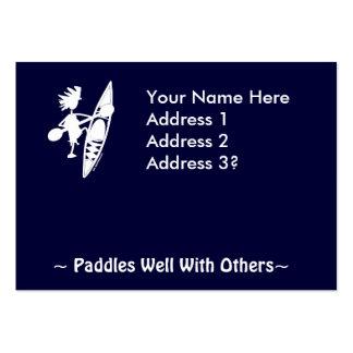 Silueta alegre de la canoa del kajak tarjetas de visita grandes