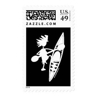 Silueta alegre de la canoa del kajak timbres postales