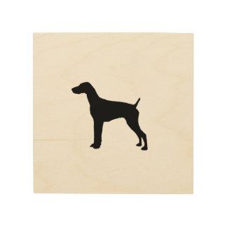 Silueta alemana del perro del indicador de pelo impresión en madera
