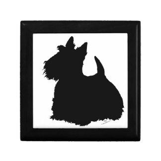Silueta alerta de Terrier del escocés Caja De Joyas