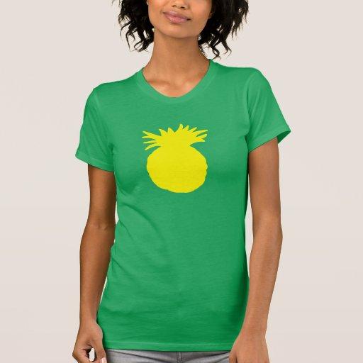 Silueta amarilla de la piña camisetas