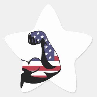Silueta americana del bíceps del músculo pegatina en forma de estrella