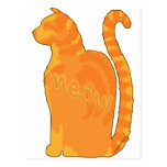 Silueta anaranjada del gato del gatito del maullid tarjetas postales