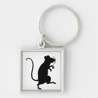 Silueta antigua del ratón del Critter Llavero Cuadrado Plateado