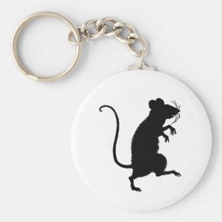 Silueta antigua del ratón del Critter Llavero Redondo Tipo Pin