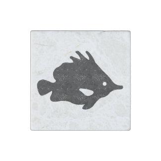 Silueta apenada de los pescados de la nariz de la imán de piedra