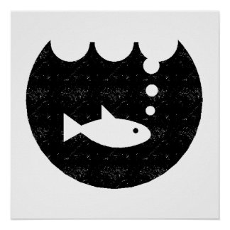 Silueta apenada del cuenco de los pescados póster