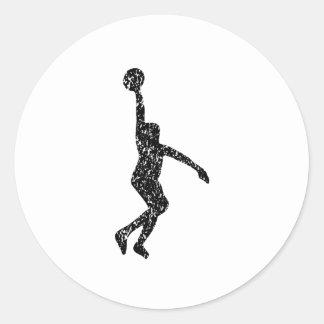 Silueta apenada del Layup del baloncesto Pegatina Redonda