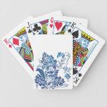 Silueta azul de la flor barajas de cartas