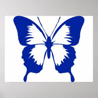 Silueta azul de la mariposa que agita posters
