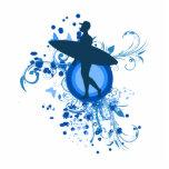 Silueta azul de la persona que practica surf esculturas fotográficas
