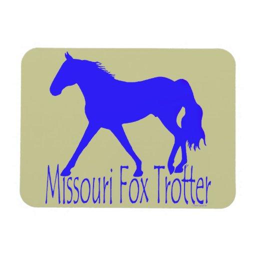 Silueta azul del caballo del trotón del Fox de Mis Imán Rectangular