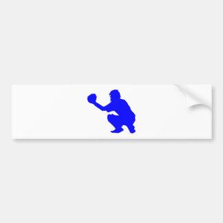 Silueta azul del colector del béisbol etiqueta de parachoque