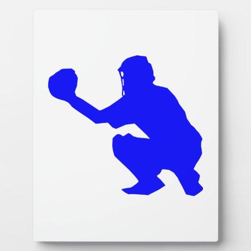Silueta azul del colector del béisbol placas con foto