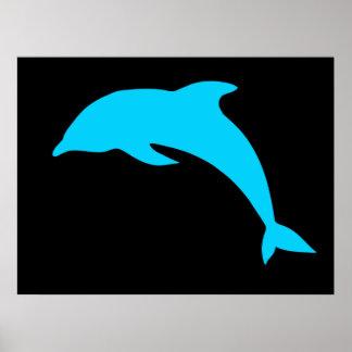 Silueta azul del delfín impresiones