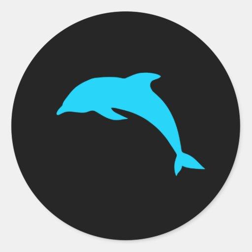 Silueta azul del delfín pegatina redonda