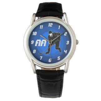 Silueta azul del jugador de hockey reloj de mano