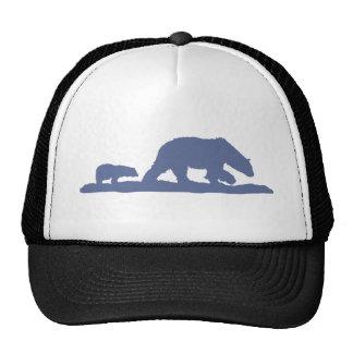 Silueta azul del oso polar gorros bordados