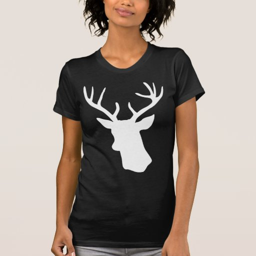 Silueta blanca de la cabeza de los ciervos - camisetas