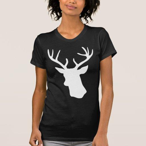 Silueta blanca de la cabeza de los ciervos - camiseta
