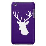 Silueta blanca de la cabeza de los ciervos - púrpu barely there iPod protectores