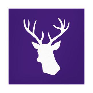 Silueta blanca de la cabeza de los ciervos - púrpu impresiones en lienzo estiradas