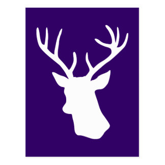 Silueta blanca de la cabeza de los ciervos - púrpu postales
