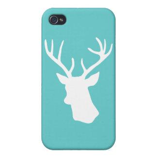 Silueta blanca de la cabeza de los ciervos - turqu iPhone 4 cobertura