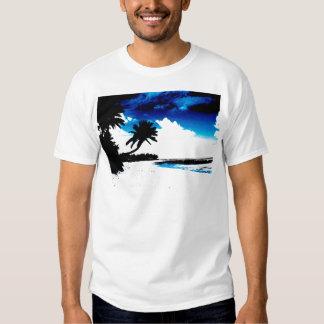 Silueta blanca de la palmera del negro azul remera