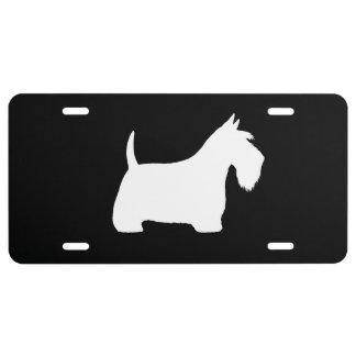 Silueta blanca de Terrier del escocés Placa De Matrícula