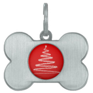 Silueta blanca del árbol de navidad placa mascota