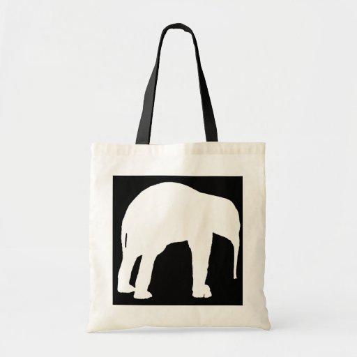 Silueta blanca del becerro del elefante, fondo neg bolsa