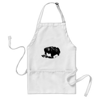 Silueta blanca del bisonte del búfalo del negro de delantal