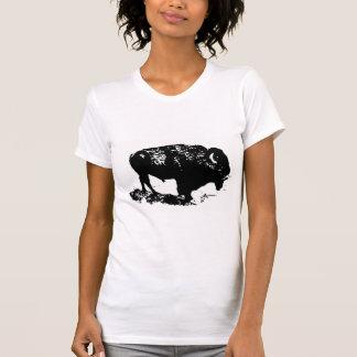 Silueta blanca del bisonte del búfalo del negro de camisetas