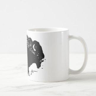 Silueta blanca del bisonte del búfalo del negro de taza