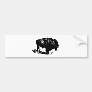 Silueta blanca del bisonte del búfalo del negro pegatina para auto