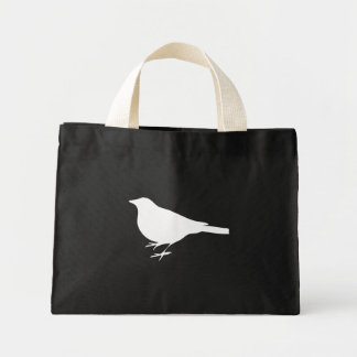 Silueta blanca del cuervo bolsa lienzo