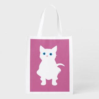 silueta blanca del gato bolsa para la compra