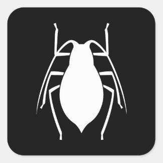 Silueta blanca del insecto del áfido pegatina cuadrada
