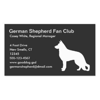 Silueta blanca del perro de pastor alemán en gris tarjeta de visita