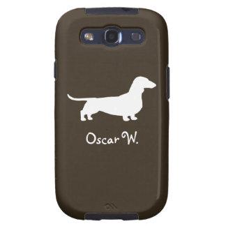 Silueta blanca del perro del Dachshund con el text Samsung Galaxy S3 Carcasa