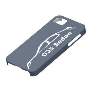 Silueta blanca del sedán G35 en pizarra azul iPhone 5 Case-Mate Protector