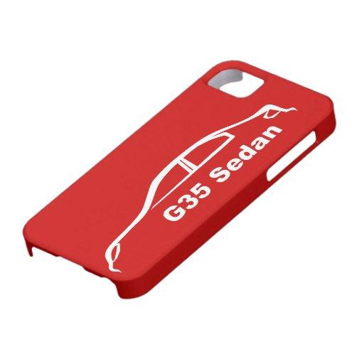 Silueta blanca del sedán G35 en rojo vibrante iPhone 5 Fundas