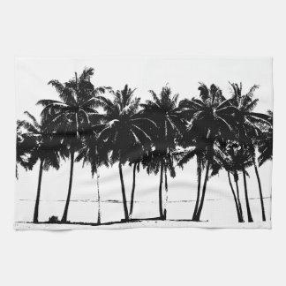 Silueta blanca negra de las palmeras toalla de cocina