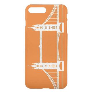 Silueta blanca y anaranjada del puente de Londres Fundas Para iPhone 7 Plus